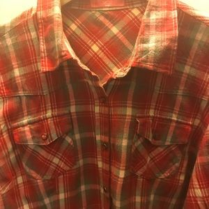 Girls Levi's long sleeve plaid shirt.